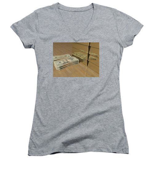 Level One Money Manifestation  Women's V-Neck T-Shirt (Junior Cut) by James Barnes