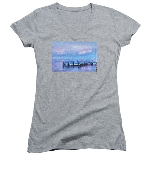 Women's V-Neck T-Shirt (Junior Cut) featuring the mixed media Lewes Pier by Trish Tritz