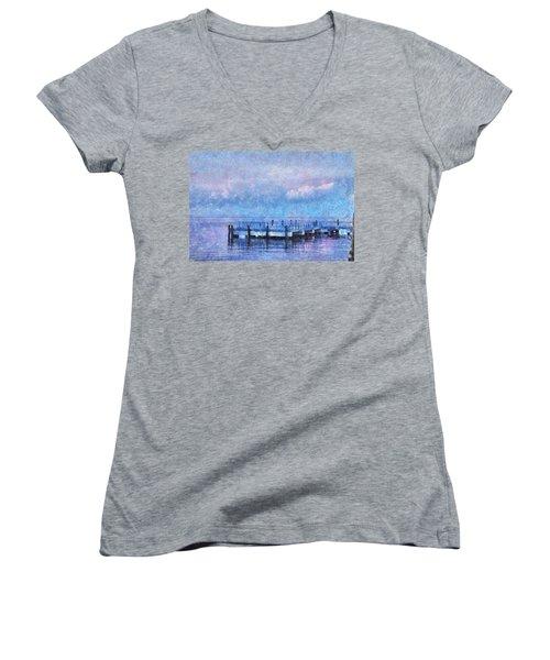 Lewes Pier Women's V-Neck T-Shirt (Junior Cut) by Trish Tritz