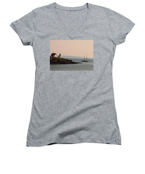 Lewis R French At The Curtis Island Lighthouse Women's V-Neck