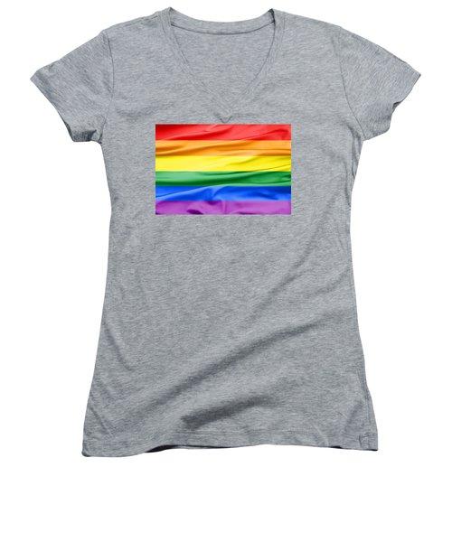 Lgbt Rainbow Flag Women's V-Neck (Athletic Fit)