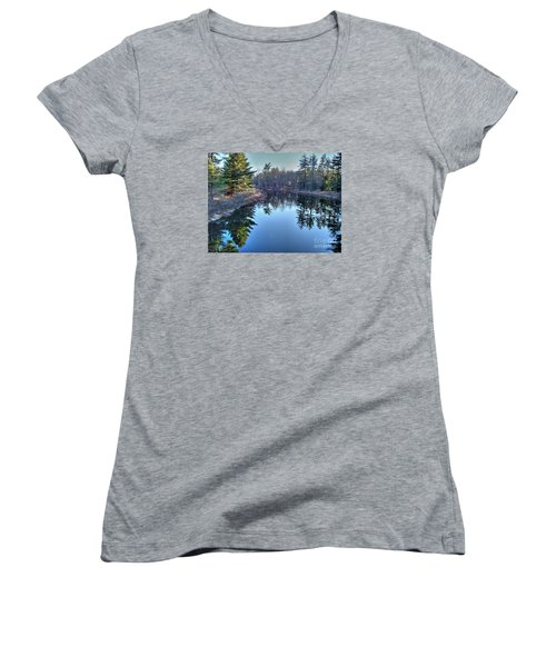 L'heure Bleu Women's V-Neck T-Shirt (Junior Cut) by Betsy Zimmerli