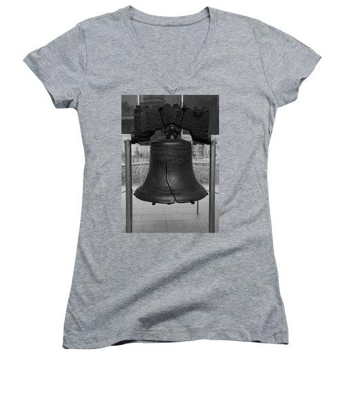 Women's V-Neck T-Shirt (Junior Cut) featuring the digital art Liberty Bell Bw by Chris Flees