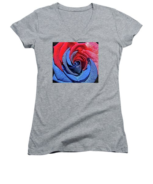 Women's V-Neck T-Shirt (Junior Cut) featuring the photograph Liberty Rose by Judy Vincent