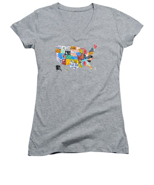 License Plate Art Map Of The United States On Yellow Board Women's V-Neck T-Shirt (Junior Cut) by Design Turnpike