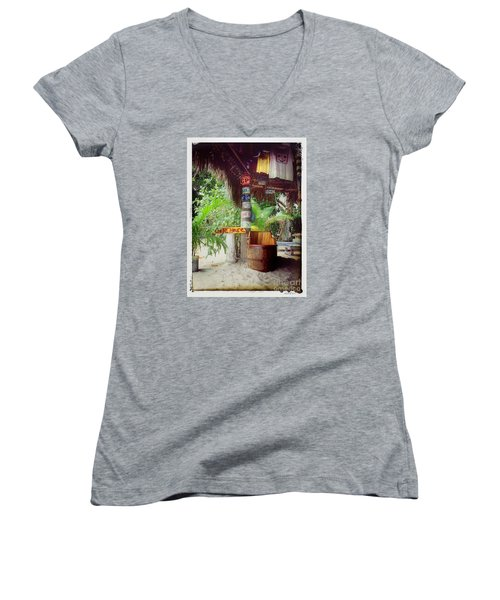 Women's V-Neck T-Shirt (Junior Cut) featuring the photograph License To Drink by Linda Olsen