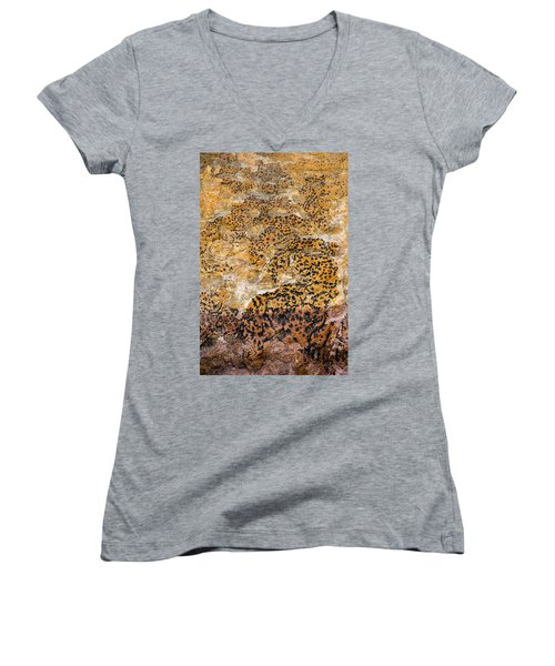 Women's V-Neck T-Shirt (Junior Cut) featuring the photograph Lichen Abstract, Bhimbetka, 2016 by Hitendra SINKAR