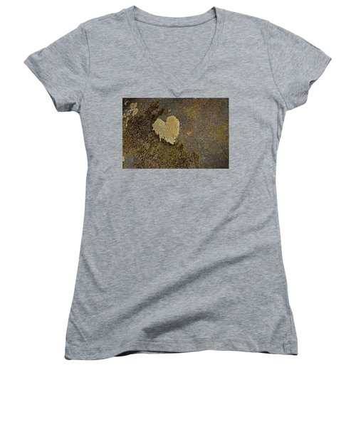 Women's V-Neck T-Shirt (Junior Cut) featuring the photograph Lichen Love by Mike Eingle
