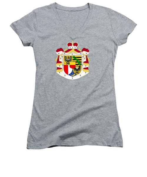 Women's V-Neck T-Shirt (Junior Cut) featuring the drawing Liechtenstein Coat Of Arms by Movie Poster Prints
