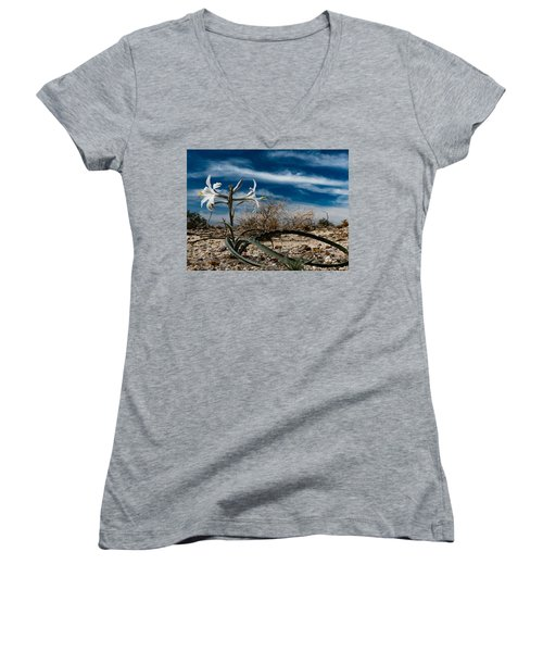 Women's V-Neck T-Shirt (Junior Cut) featuring the photograph Life Amoung The Weeds by Jeremy McKay