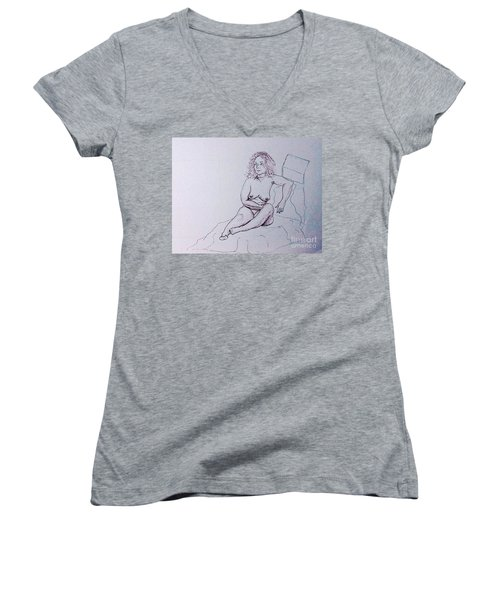 Life Drawing Nude Women's V-Neck (Athletic Fit)