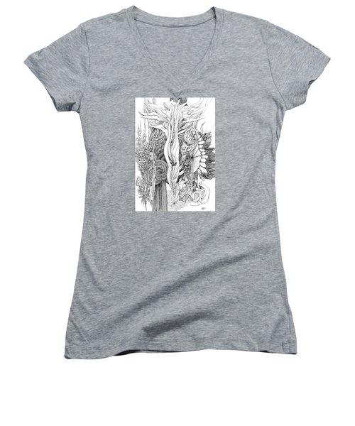 Life Force Women's V-Neck T-Shirt (Junior Cut) by Charles Cater