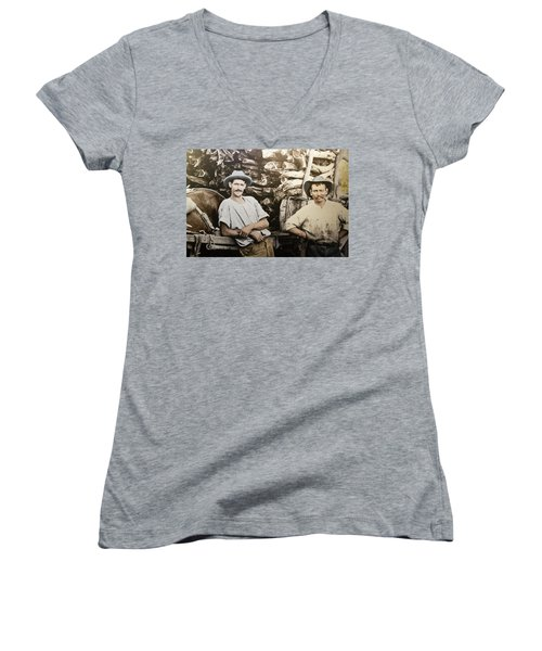 Women's V-Neck T-Shirt featuring the photograph Life In Australia 1901 To 1914 by Miroslava Jurcik