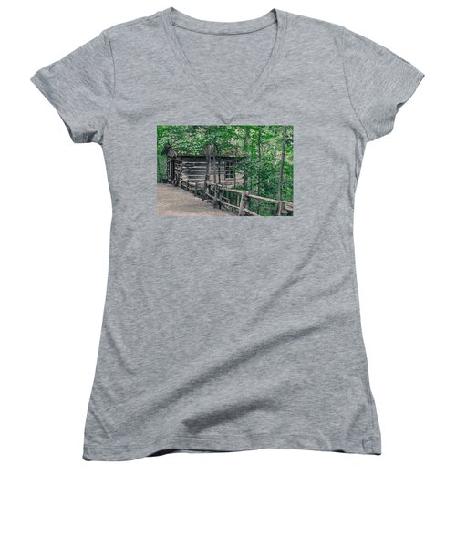 Women's V-Neck T-Shirt (Junior Cut) featuring the photograph Life In The Ozarks by Annette Hugen