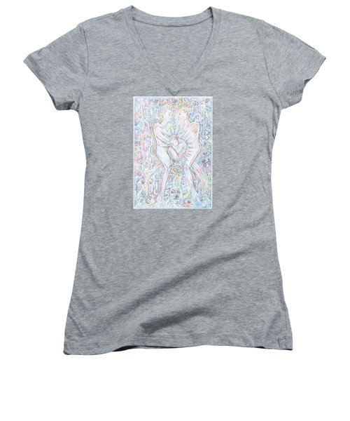 Women's V-Neck T-Shirt (Junior Cut) featuring the mixed media Life Series 1 by Giovanni Caputo