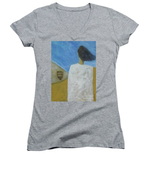 Women's V-Neck T-Shirt (Junior Cut) featuring the painting Lifeboat by Glenn Quist