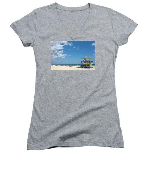 Lifeguard Station Miami Beach Florida Women's V-Neck (Athletic Fit)