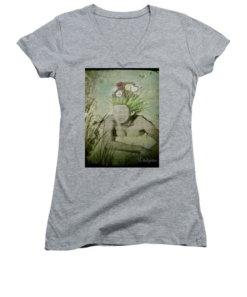 Women's V-Neck featuring the digital art Life's A Beach by Delight Worthyn