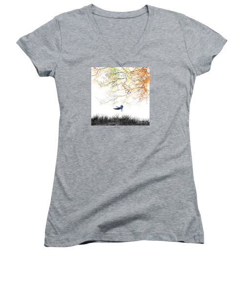 Women's V-Neck T-Shirt (Junior Cut) featuring the painting Lift Off by Trilby Cole