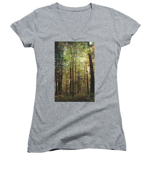 Women's V-Neck T-Shirt (Junior Cut) featuring the photograph Light Among The Trees Vertical by Felipe Adan Lerma