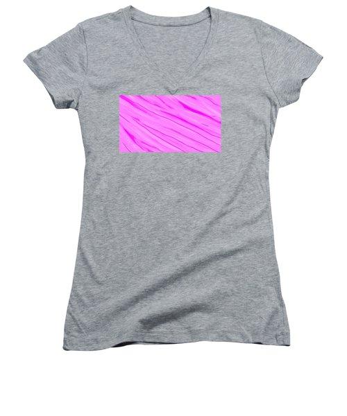 Light And Dark Pink Swirl Women's V-Neck T-Shirt (Junior Cut) by Linda Velasquez