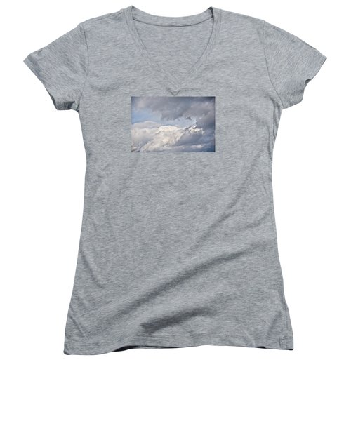 Women's V-Neck T-Shirt (Junior Cut) featuring the photograph Light And Heavy by Wanda Krack