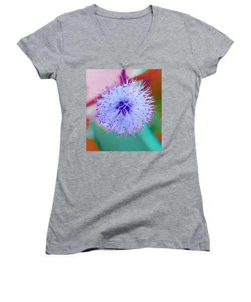 Light Blue Puff Explosion Women's V-Neck (Athletic Fit)