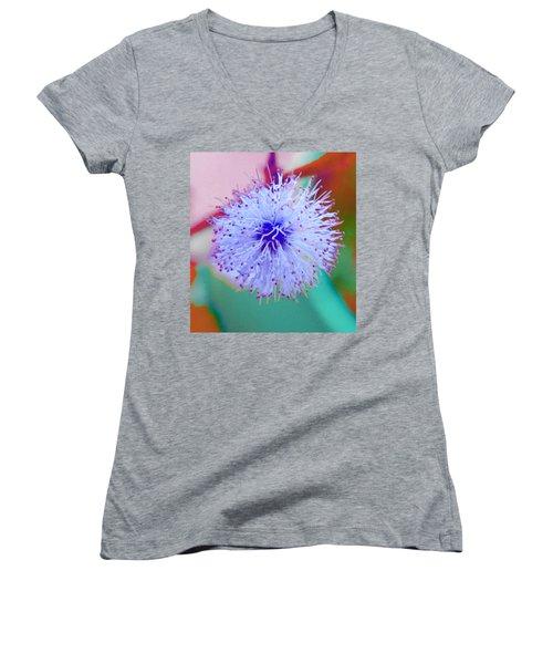 Light Blue Puff Explosion Women's V-Neck T-Shirt (Junior Cut)