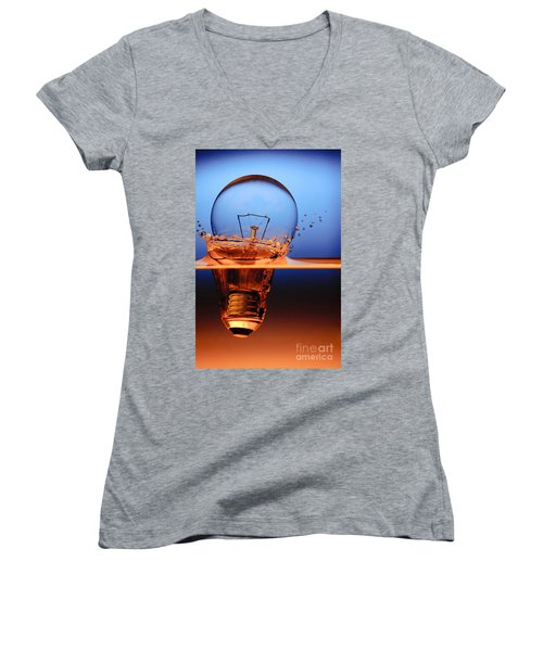 Women's V-Neck T-Shirt (Junior Cut) featuring the photograph Light Bulb And Splash Water by Setsiri Silapasuwanchai
