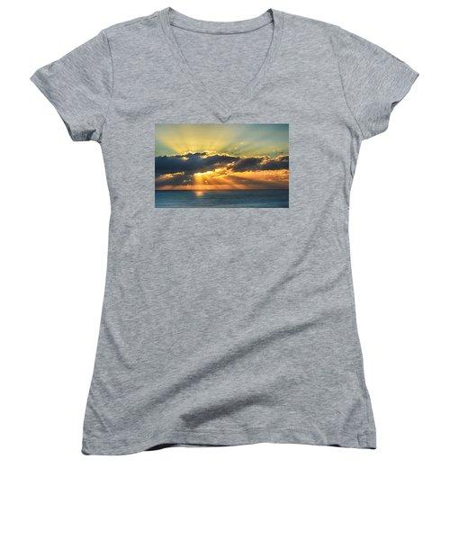 Light Explosion Women's V-Neck T-Shirt (Junior Cut) by AJ Schibig
