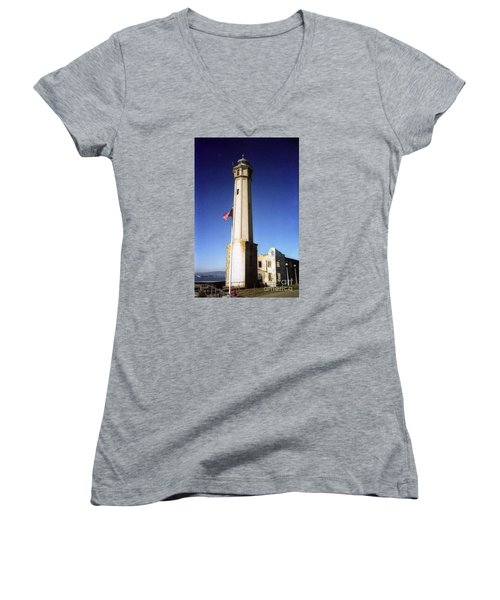 light house Alcatraz SF bay area Women's V-Neck T-Shirt