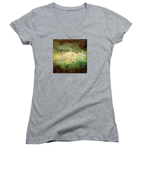 Light In The Forest Women's V-Neck T-Shirt (Junior Cut) by Robin Regan
