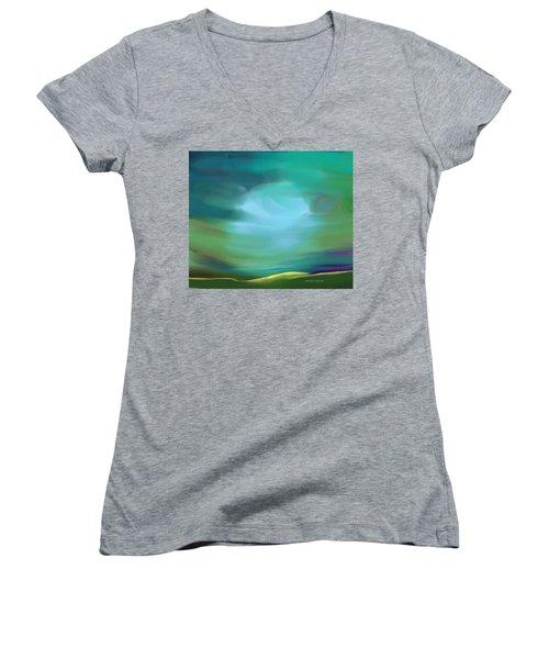 Light In The Storm Women's V-Neck T-Shirt (Junior Cut) by Lenore Senior