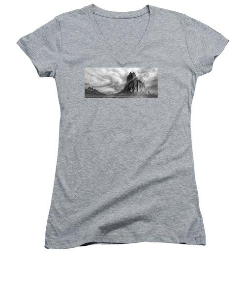 Light On Shiprock Women's V-Neck T-Shirt (Junior Cut) by Jon Glaser