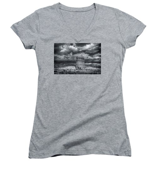 Women's V-Neck T-Shirt (Junior Cut) featuring the photograph Light On The Rock by John A Rodriguez