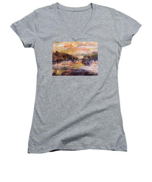 Light Show At Dawn Women's V-Neck T-Shirt (Junior Cut) by Nancy Kane Chapman