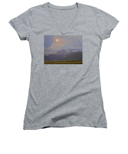 Light Storm Women's V-Neck T-Shirt (Junior Cut) by Eric Tressler