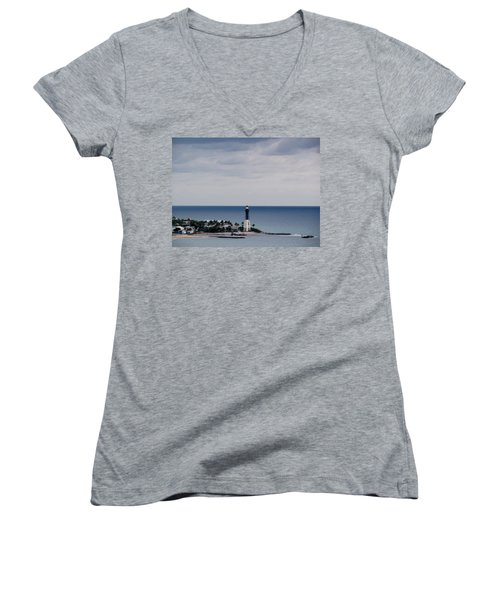 Lighthouse And Rain Clouds Women's V-Neck T-Shirt
