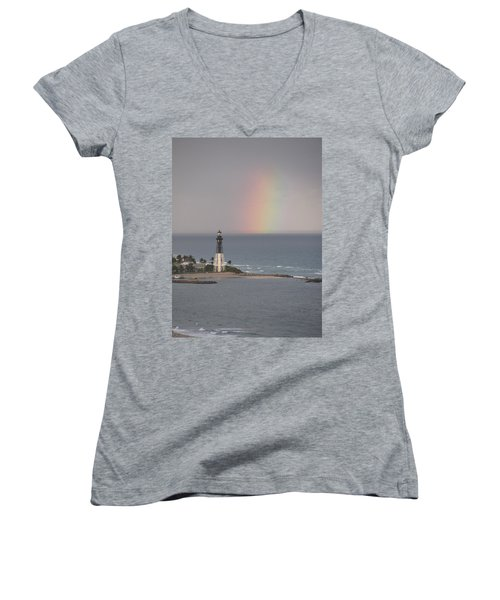 Lighthouse And Rainbow Women's V-Neck T-Shirt