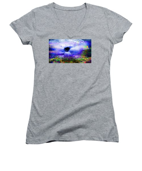Lighthouse Angel Purple In Hotty Totty Style Women's V-Neck T-Shirt (Junior Cut) by Catherine Lott