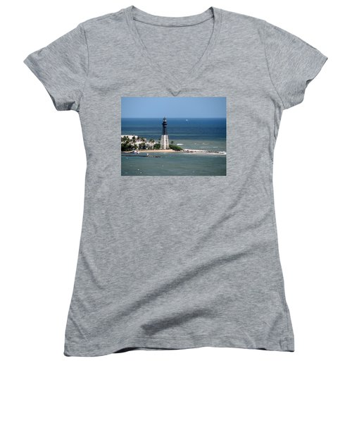 Lighthouse At Hillsboro Beach, Florida Women's V-Neck T-Shirt