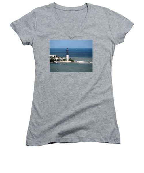 Lighthouse At Hillsboro Beach, Florida Women's V-Neck (Athletic Fit)