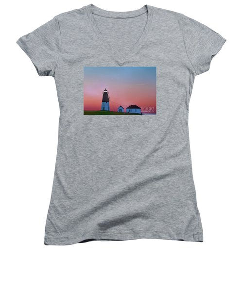 Women's V-Neck T-Shirt (Junior Cut) featuring the photograph  Lighthouse At Sunrise by Juli Scalzi