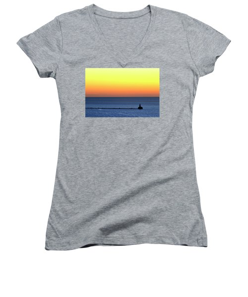 Lighthouse At Sunrise On Lake Michigan Women's V-Neck T-Shirt (Junior Cut) by Zawhaus Photography