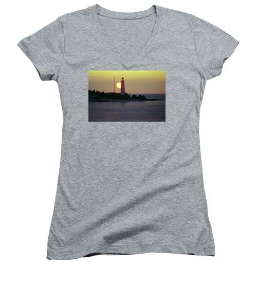 Lighthouse At Sunset Women's V-Neck