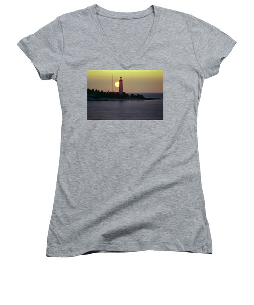 Lighthouse At Sunset Women's V-Neck