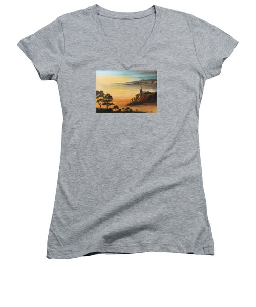 Lighthouse At Sunset Women's V-Neck T-Shirt (Junior Cut) by Remegio Onia