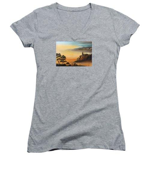 Lighthouse At Sunset Women's V-Neck (Athletic Fit)
