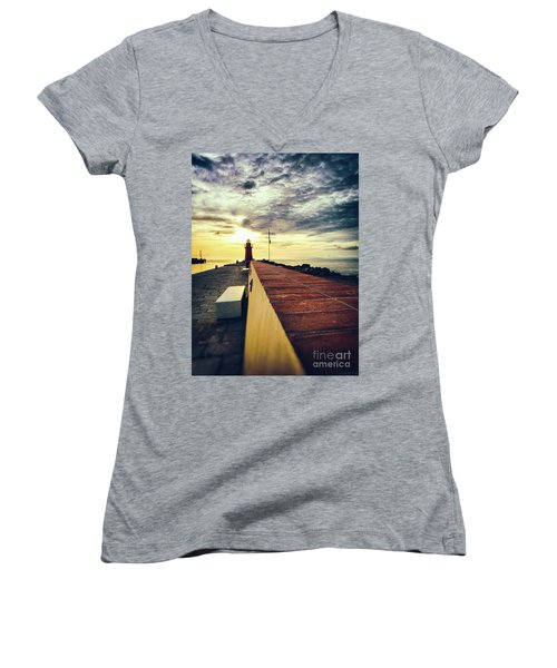 Women's V-Neck T-Shirt featuring the photograph Lighthouse At Sunset by Silvia Ganora