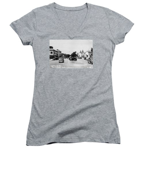 Lighthouse Avenue Downtown Pacific Grove, Calif. 1935  Women's V-Neck
